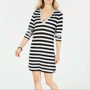 Miken Swim NEW Striped Hoodie Long Sleeve Cover Up